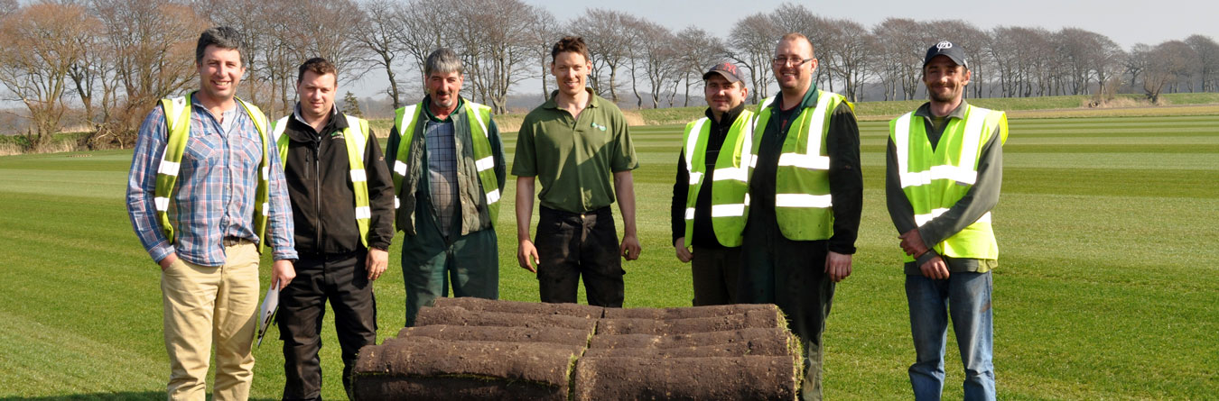 Dave Mackay with some of the team at Harrowden Turf Ltd
