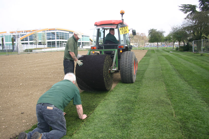 lawn turf in big rolls