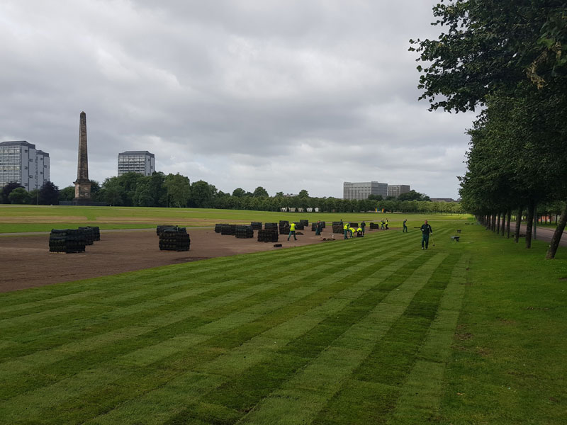 turf laying glasgow green